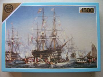 Napoleon 3  Receiving Queen Victoria at Cherbourge 1500 Piece Jigsaw Puzzle
